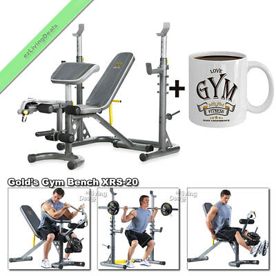 Gold Gym Bench with Rack XRS 20 Olympic Workout Adjustable Golds Weight Benches