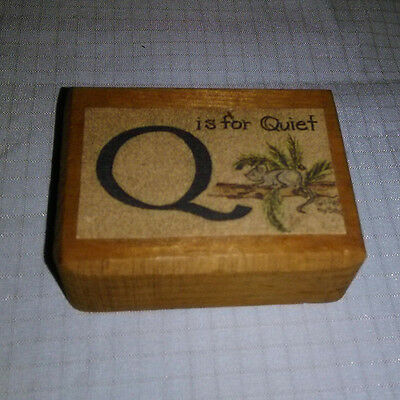Vintage Rare Sarah's Attic ~ Name /Group Wood Display Block ~ Q IS FOR QUIET