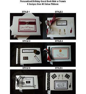 Personalised Birthday Guest Book Male or Female 6 Designs Over 40 Colour Ribbons