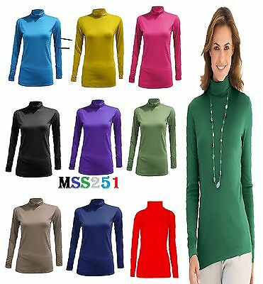 Womens Long Sleeve Turtle Polo Neck Top Ladies Polo Neck Jumper 8-26
