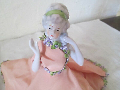 Ancienne Demi Figurine Poupee Marquise Tee Puppee Half Doll Porcelaine Allemande