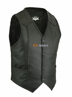 Leather Waistcoat Real Biker Cowhide Plaited Edging Button Close Motorcycle Vest