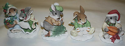 Set Of 4 1996 My Blushing Bunnies Patricia Hillman Figures Free Shipping