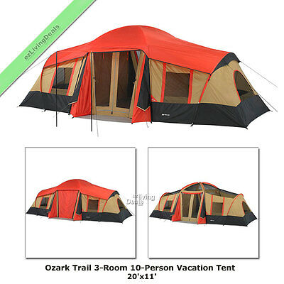 Ozark Trail 3 Room Cabin Tent 10 Person 20x11' ft Large Camping Hunting Vacation
