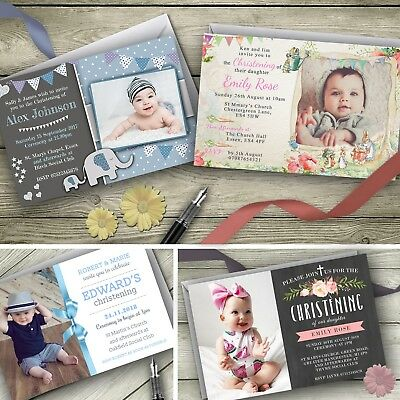 Personalised Christening Invitations / Baptism Party Invites envelopes included