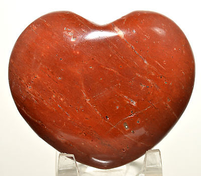 """2.9"""" Brecciated Red Jasper Puffy Heart Chalcedony Crystal Palm Stone from India"""