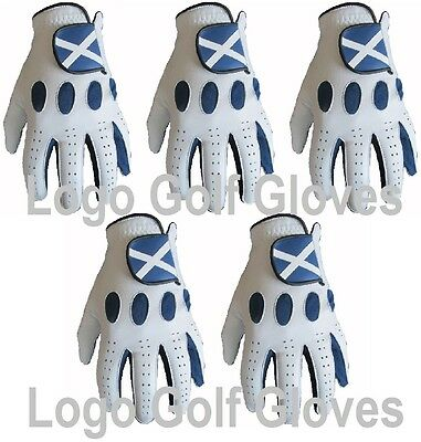 5 100% Cabretta Leather Golf Gloves Scotland Logo 4 Small Medium Large Extra XL