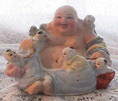 vintage Chinese Porcelain HAPPY LAUGHING BUDDHA - 5 Children