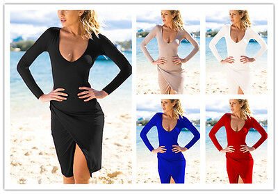 Sexy Women Low-cut Long Sleeve Bodycon Cocktail Dress Ladies Party Evening Dress