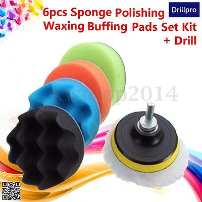 6pcs 3'' Sponge Polishing Waxing Buffing Pads Set for Compound Auto Car + Drill