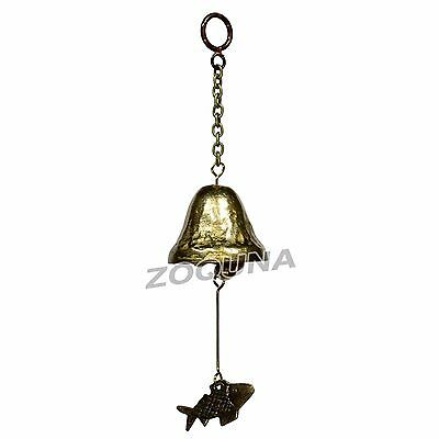 Brass Wind Chime Hanging Fish Bell Antique Style Shopkeepers Mobile HC0176