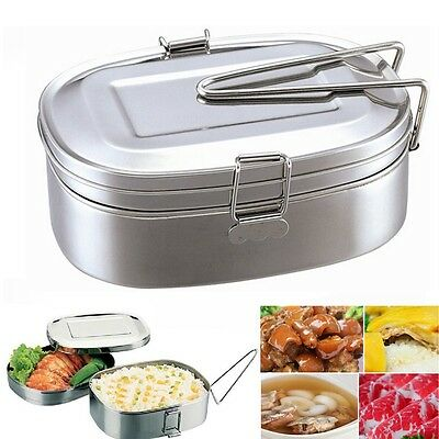 Portable Simple Stainless Steel Square Food Container Bento Lunch Box 2 layer