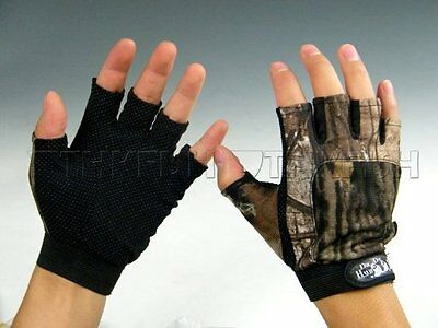 1pair Gloves 5 Cut Finger Fishing Gloves Anti Water Water Proof Black Camo