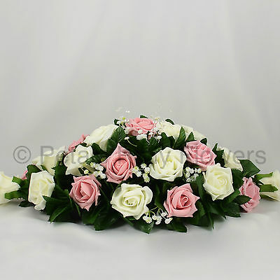 Wedding Flowers by Petals Polly, TOP TABLE DECORATION in ANTIQUE PINK & IVORY