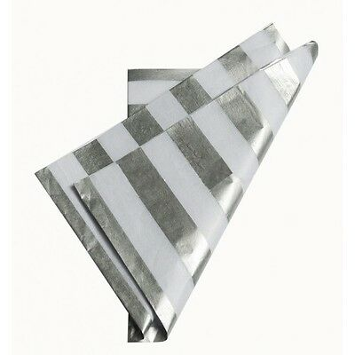 Metallic Silver Stripes Rows ~ Acid Free Tissue Wrapping Paper Sheets 50x75cm