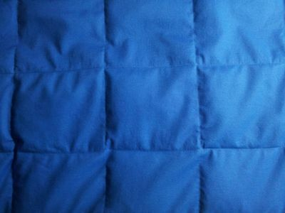"Blue cotton. 5# - 15# TWIN custom weighted blanket. Appx. 40"" x 70"""