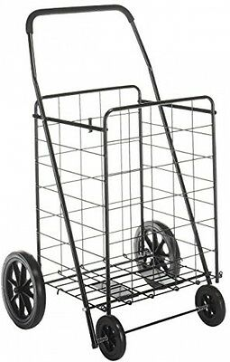 Black Shopping Cart Trolley Folding Laundry Basket Heavy Wheels Rolling Utility