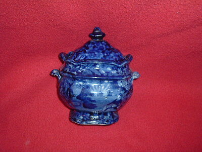 Historical Staffordshire Dark Blue Lafayette at Franklins Tomb Sugar Bowl 1825