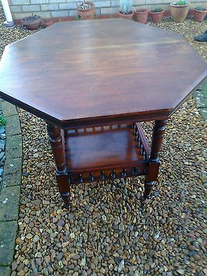 Antique, Victorian Octagonal, Mahogany Table with Lower Gallery