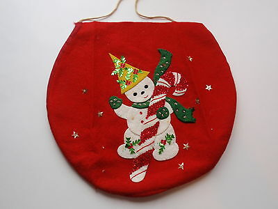 Vintage Hand Crafted Christmas Snowman Toilet Seat Cover Felt Sequins Gold Stars