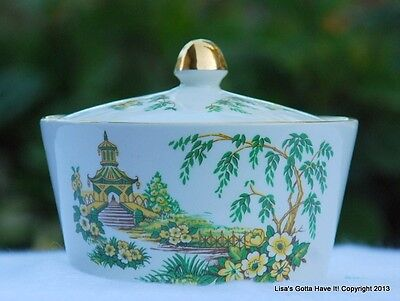 Vintage CROWN DEVON Gold Floral Pagoda Lidded Vanity Trinket Dish Butter Bowl