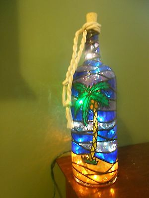 Palm Tree Bottle Lamp Handpainted Stained Glass Look Handpainted