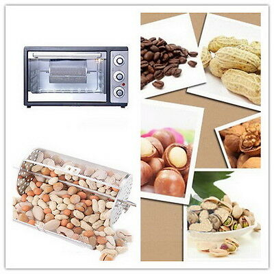 13x21cm Capacity Green Coffee Beans Peanut BBQ Rotisserie Roaster Drum Oven LM