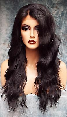 Lace Front Hand Tied Ear 2 Ear Lace Heat Friendly #1B Dark Brown Wig Us Sell 454