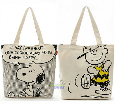 Snoopy Peanuts Double Sided Pattern Food Fruit Shopping Bag Handbag Schoolbag