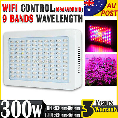 Wifi 300W LED Grow Light Panel Full Spectrum RED/BLUE Lamp Indoor Veg Hydroponic