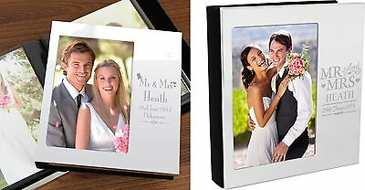 Personalised Silver Mr & Mrs Wedding Photo Album - 48 6x4 Photos - Free Delivery