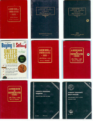 9 - Vintage Red & Blue Book Guide Books Of Us Coins 1960 To 1984 Whitman