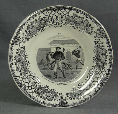 1860s FRENCH CREIL&MONTEREAU FAIENCE TRANSFER PLATE~HORSE SLAUGHTERHOUSE BUTCHER