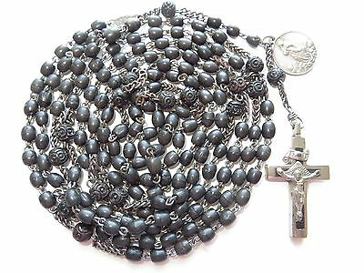 1800 Antique Nuns Black Wood Bead 15-Decade Rosary-Assumption Medal/Velvet Pouch