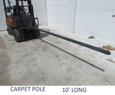 "10' Carpet pole 2.5"" carriage mount 1500 lb Capacity Forklift fork mount"