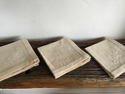 Set Of 12 Antique Vintage Linen Embroidery Lace Table Napkins Early 1900's