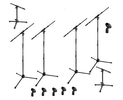 Set of 6 PRO Mic Stands - 4 Tall (Extending Boom) + 2 Low + six microphone clips