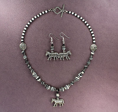 ZEBRA NECKLACE EARRINGS SET Totem Charm Symbol Wild Horse Animal Magick Africa
