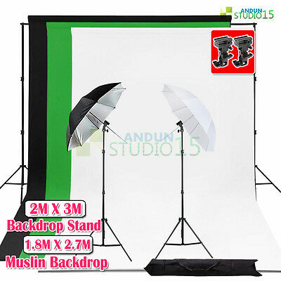 Photography Studio Flash Umbrella Lighting Bracket B Muslin Backdrop Stand Kit
