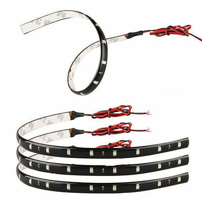 4Pcs 12V 15LED 30cm Car Motor Vehicle Flexible Waterproof Red Strip Light Lamp