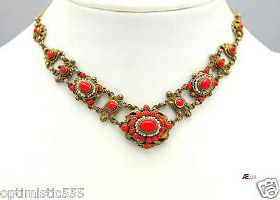 Antique Austro - Hungarian Set Necklace Bracelet Ring Coral Silver Seed Pearls