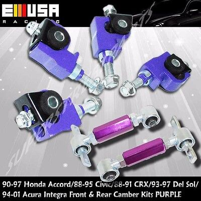 F&R Camber kit PURPLE FOR88-95 Civic 88-91CRX 93- 97 DelSol 94-01 Acura Integra