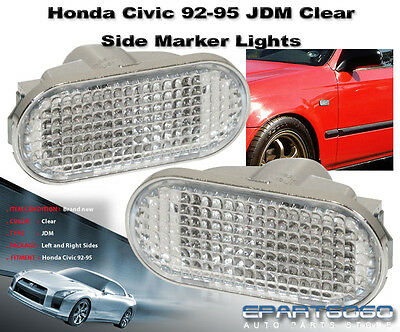 92-95 Honda Civic Jdm Style Flat Fender Clear Side Markers Signal Lights