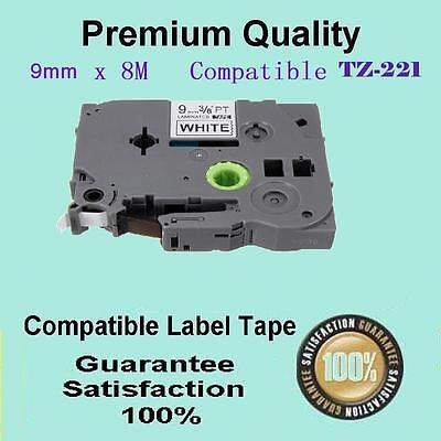 3x Laminated labelling tape for Brother TZ-221 TZe-221 Black on White 9mm x 8m