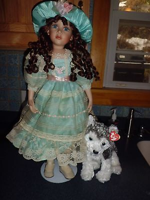 """Court of dolls 24"""" tall Teri porcelain dollw/stand & coa 30/2000  free shipping"""