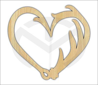 Unfinished Wood Fish Hook, Deer Antler Heart Laser Cutout, Wreath Accent