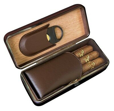 Folding Leather Cigar Case with Cutter - Brown