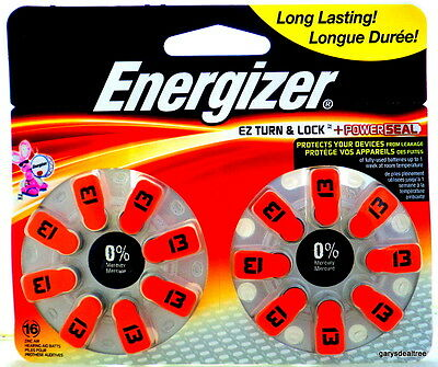 Energizer Size 13 ~ Hearing Aid Battery AZ13DP-16 Qty 16 ~Exp 2018 Zinc Air 1.4v
