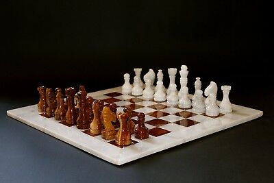 """16""""Chess Set Botticino Stone/Red-Brown Marble Hand Made in Velvet/Suede Gift Box"""