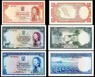 !copy! Rhodesia £1 Pound 1968 £5 Pounds 10 Shillings 1964 Banknotes Not Real!